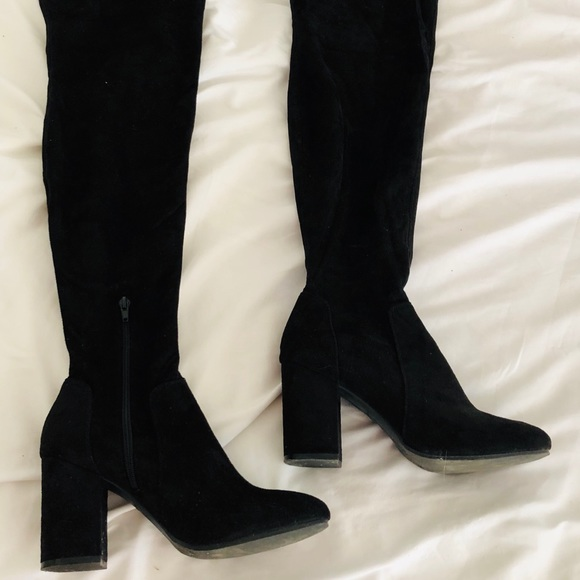 2532f4769569 Christian Siriano Shoes - Black faux suede thigh high boots.